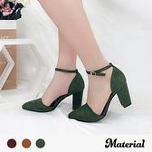 跟鞋 絨布尖頭繞踝跟鞋 MA女鞋 T9323