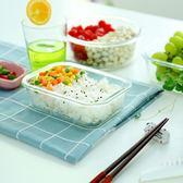 飯盒微波爐便當盒微波爐碗帶蓋玻璃碗保鮮盒長方形艾維朵