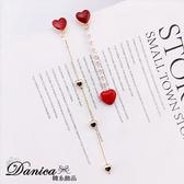 現貨 韓國甜美浪漫愛心珍珠不對稱流蘇925銀針耳環 夾式耳環 S93325 批發價 Danica 韓系飾品