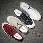 男式布鞋春夏季繫帶低筒休閒板鞋防臭透氣白色韓版潮鞋帆布鞋男鞋 卡布奇诺