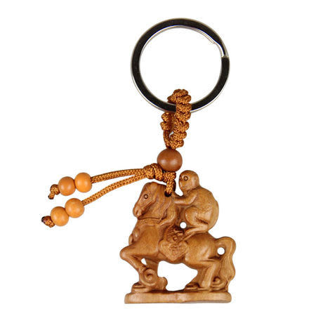 桃木雕刻馬上封侯鑰匙扣U022