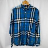BRAND楓月 BURBERRY 博柏利 藍黑白格紋 100%棉 純棉 長袖 襯衫 #M 長袖上衣 休閒