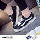 [Here Shoes]女款 女鞋 情侶鞋 透氣綁帶 板鞋 休閒鞋 學生基本款 平底帆布鞋─AA365