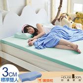 House Door 抗菌防螨布 3cm厚記憶床墊超值組-雙人5尺水湖藍