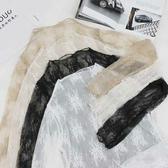 蕾絲打底衣   2020新款半高領網紗打底衫韓版秋冬上衣透視蕾絲