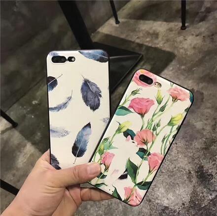 【SZ33】羽毛貓咪iPhone7/8手機殼iPhone7/8 plus外殼簡約文藝6s軟殼6p情侶