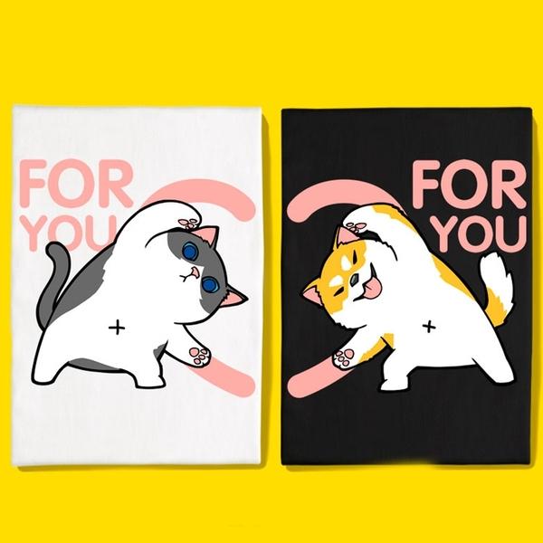 現貨 情侶裝 情侶T 潮T 圓領純棉T恤 MIT台灣製【Y0872】短袖 FOR YOU 愛心版合體柴犬賓士貓