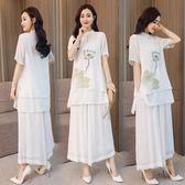 棉麻套裝 中國民族風棉麻復古文藝印花套裝裙 兩件套禪意茶服 WE1154『優童屋』