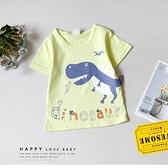 寶寶 大恐龍英字母黃綠色圓領短T 薄款 卡通 休閒 幼兒 棉質 春夏 短袖 上衣 T恤