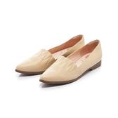 【Fair Lady】 懶骨頭 波紋縫線皮革尖頭平底鞋 黃