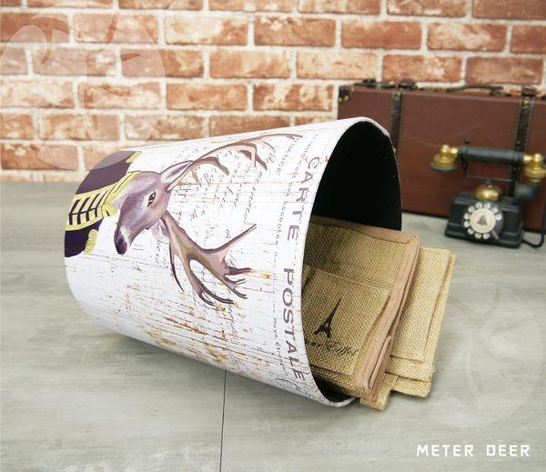 垃圾桶收納桶 歐式麋鹿角梅花鹿款皮革製防潑水廢紙簍 北歐zakka鄉村空間擺飾置物籃-米鹿家居