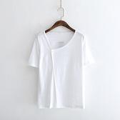 短袖T恤-純色文藝復古一粒釦休閒女上衣3色73sy40【巴黎精品】