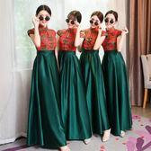 洋裝 伴娘服中式宴會長款新娘姐妹裙結婚婚禮伴娘團紅色禮服女 糖果時尚