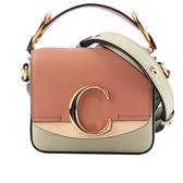 【CHLOE】Mini C Bag拼色拼皮革手提/斜背兩用包(薄荷綠) CHC20AS193D0438A