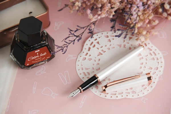 SKB文明鋼筆 RS-306C 馬卡龍玫瑰金筆墨禮盒組 | 書寫女孩