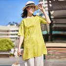 亞麻襯衫 盤扣A字型上衣 中長款純色襯衫-夢想家-0304
