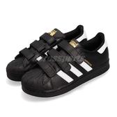 adidas 休閒鞋 Superstar CF C 黑 白 魔鬼氈 基本款 中童鞋 小朋友【PUMP306】 B26071