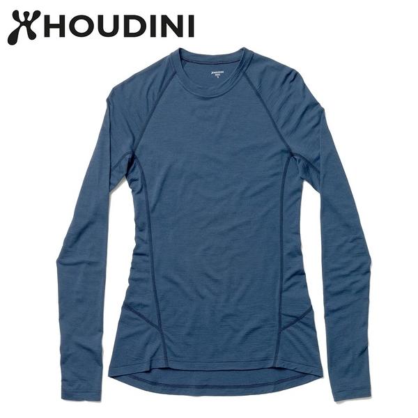 瑞典【Houdini】W`s Desoli 女款美麗諾羊毛保暖圓領內層衣 水桶藍