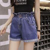 夏季鬆緊腰牛仔短褲高腰捲邊大碼寬鬆顯瘦女 奇思妙想屋