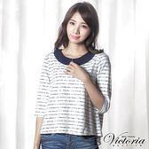 Victoria 全蕾絲寬鬆八分袖T-女-藍條