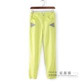 [超豐國際]鋇春秋裝女裝熒光綠色休閑拼接個性舒適牛仔褲 25(1入)