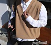 毛衣馬甲 寬鬆無袖薄款毛衣日系情侶男士坎袖V領針織馬甲線衣背心潮 歐萊爾藝術館