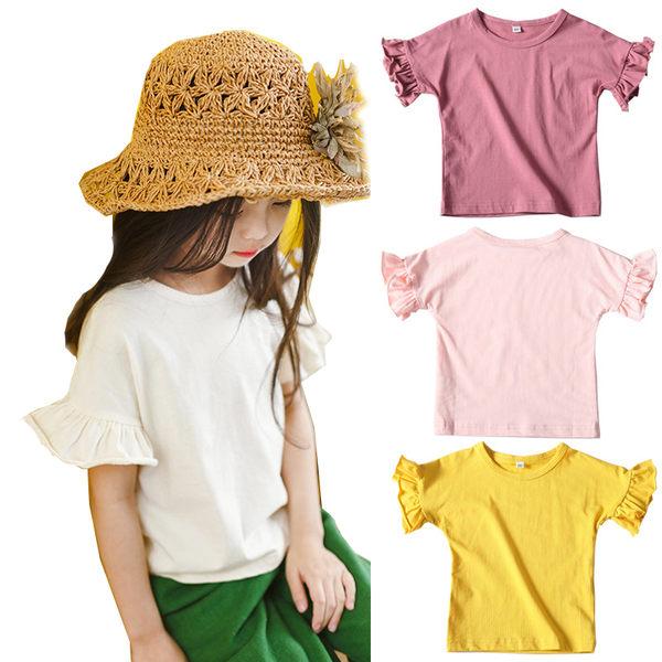莫代爾透氣棉質荷葉花邊袖 短袖上衣 橘魔法 Baby magic 現貨 童裝 女童 短袖 上衣