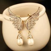 耳環 玫瑰金純銀鑲鑽-天使之翼情人節生日禮物女飾品73ca41【時尚巴黎】