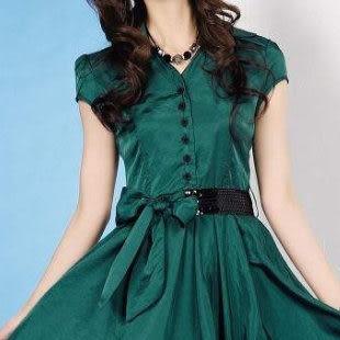夏裝新款女裝 修身淑女氣質優雅短袖連衣裙