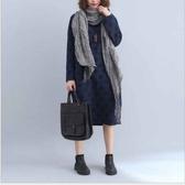 漂亮小媽咪 原創設計洋裝 【D3688】 長袖 圈圈 寬鬆 大碼 舒適 保暖夾棉 高領 孕婦裝 長版洋裝