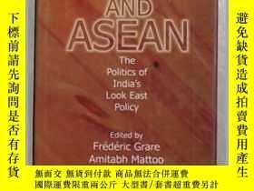 二手書博民逛書店英文原版罕見India and Asean by Frederi