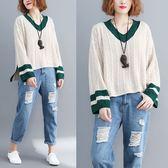 學院風V領麻花針織毛衣-大尺碼 獨具衣格