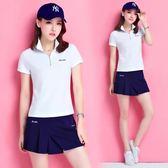 夏季新款高爾夫衣服女裝高爾夫套裝女短袖T恤golf韓版防走光褲裙   初見居家