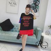 韓系時尚長版圓領字母印花T連身上衣 (RT0001-PQ57622) iRurus 路絲時尚