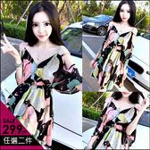克妹Ke-Mei【AT46138】超有氣質我超愛 復古花朵性感露肩收腰雪紡洋裝