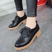 2018春季正韓風女鞋小皮鞋流蘇粗跟復古單鞋厚底中跟牛津鞋小白鞋MIU
