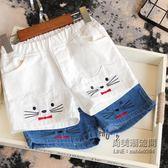 ✡老闆定錯價✡  童韓版女童卡通貓咪刺繡牛仔短褲寶寶百搭水洗熱褲