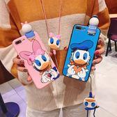 【SZ62】唐老鴨掛繩支架+公仔趴趴 iphone XS MAX手機殼 iphone XR XS手機殼 iphone 8plus手機殼 iphone 6s plus