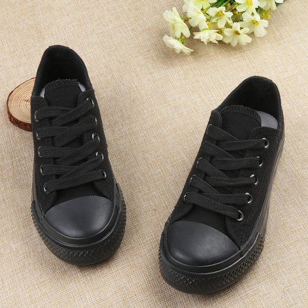男童帆布鞋 兒童全黑色帆布鞋男童女童系帶全黑布鞋低幫平底親子鞋小童鞋 寶貝計畫