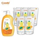 康貝 Combi 黃金雙酵奶瓶蔬果洗潔液 箱購組合 (1000ml罐裝x1+800ml補充包x5)