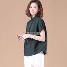 棉質格子短袖襯衫女裝新款夏季半開襟翻領上衣休閒寬鬆大碼裝快速出貨