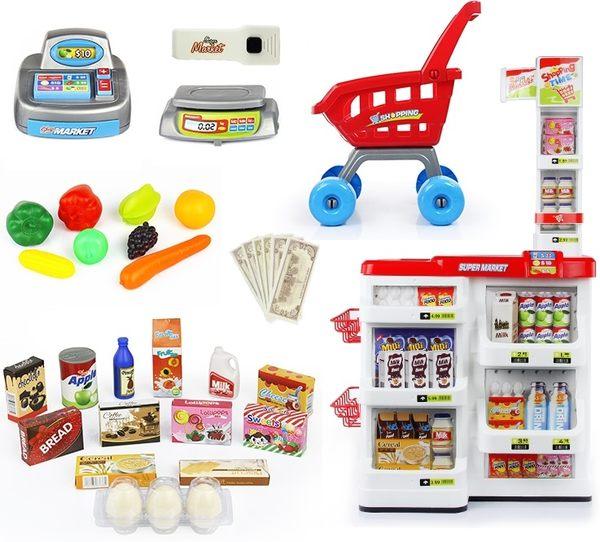 *粉粉寶貝玩具*超市多功能購物餐台手推車收銀台/家家酒廚房/ 附購物車 收銀機 ~燈光音效~