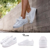 adidas 休閒鞋 Superstar W 白 全白 小白鞋 貝殼頭 皮革鞋面 女鞋 百搭款 運動鞋【PUMP306】 AQ1214