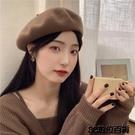 秋日奶咖~日系甜美復古羊毛貝雷帽女新款純色優雅氣質時尚畫家帽 3C數位