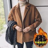 風衣男短款秋冬季大衣青年韓版寬鬆外套帥氣加棉加厚衣服 卡卡西