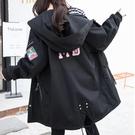 孕婦裝 孕婦外套秋裝好康推薦新品大尺碼200斤風衣女中長版正韓寬鬆外搭上衣冬