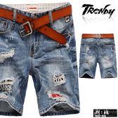 『潮段班』【SD033298】刷白刷破撞色英文字母底布設計後口袋微刷破牛仔短褲 五分褲 膝上褲