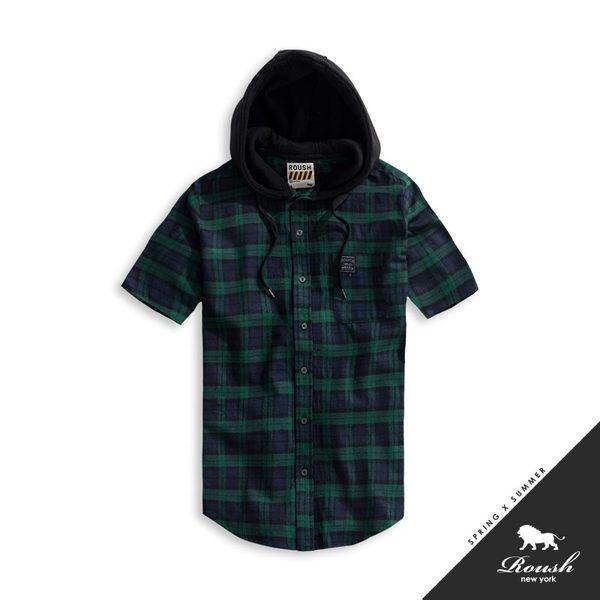 【Roush】 法蘭絨格紋連帽短袖襯衫 -【915059】