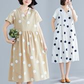 洋裝 連身裙 大碼女裝亞麻圓點V領洋裝夏季新款文藝復古寬鬆短袖休閒中長裙