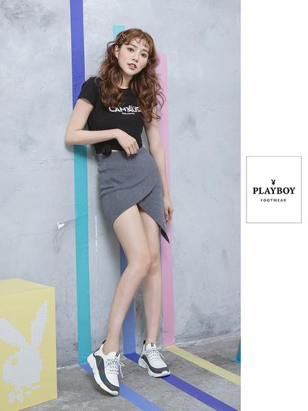 PLAYBOY 炫彩注目 襪套式休閒鞋-白(Y5279白)